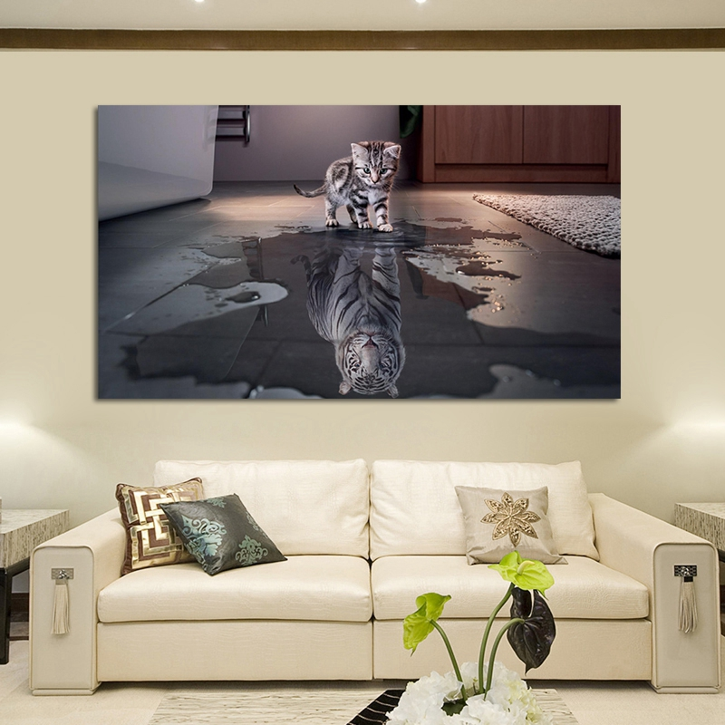 Us 4 16 Hd Print Cute Animals Posters Cat Reflection Tiger Art Canvas Wall Painting Unique Design Wall Picture For Home Decoration In Painting