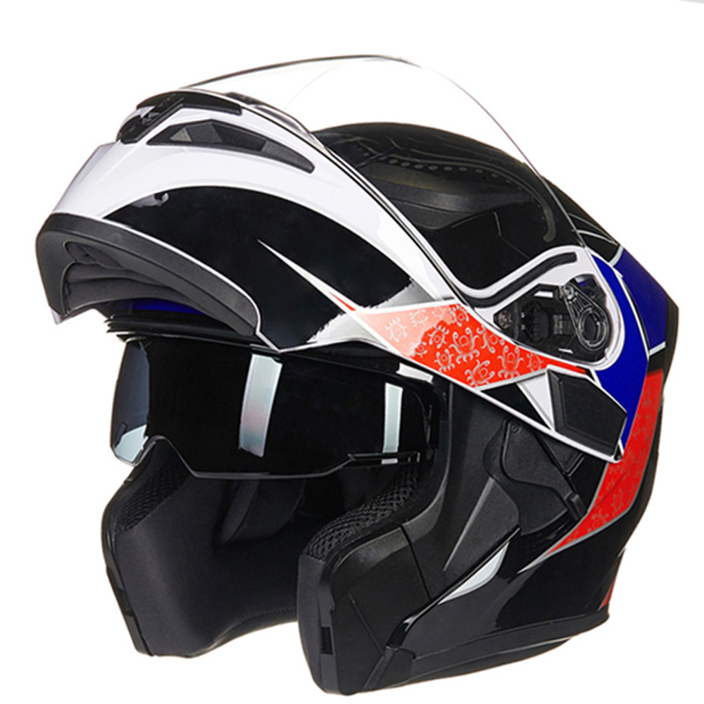 Light weight Full Face Flip Up Dual Visor Comfortable and Soft Motorcycle Helmet Optional Color of Glass Styling-in Helmets from Automobiles & Motorcycles    1