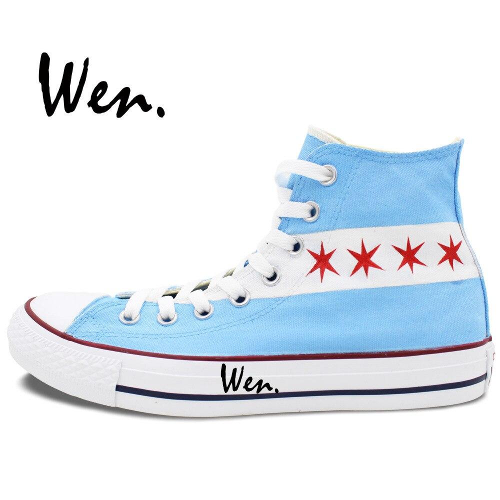 Wen dizajn Custom ručno oslikane cipele Chicago Flag City Skyline - Tenisice - Foto 2
