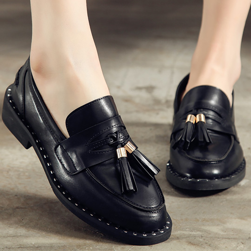 Breather slip-on women shoes 2018 new arrival round toe Rough with shallow solid party ladies spring/autumn shoes tassel flats women bright leather flats round toe shallow chaussure soft sole ladies shoes low heel spring casual loafer shoe slip on flats