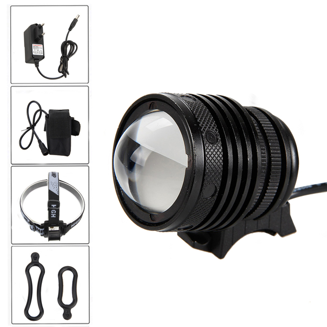 3000Lm T6 LED Zoomable Focus Front Head front Bicycle Cycling Lamp Light Headlight+ 4x18650 Battery +CH