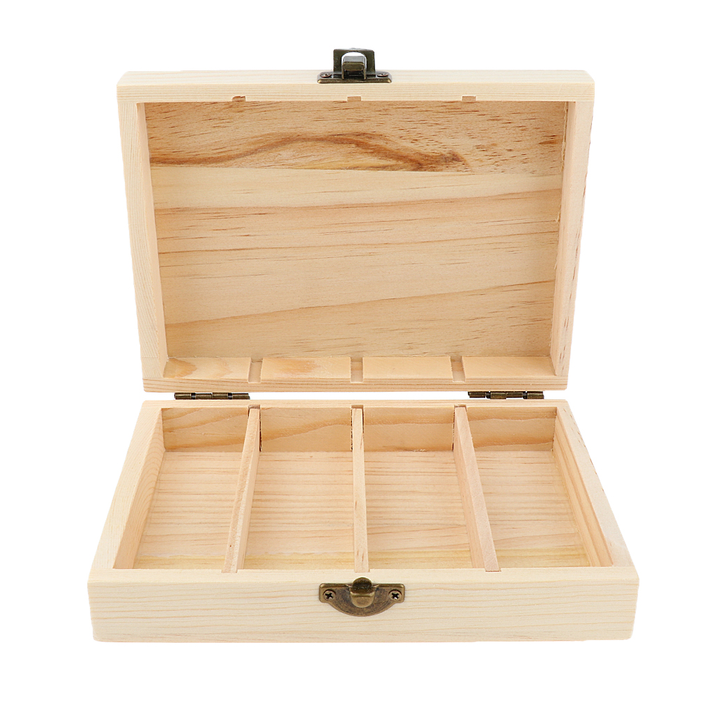 4 Grid Wooden Bottle Container Organizer Storage Case For Essential Oil 30ml - Size 16.9 X 12.3 X 3.2 Cm / 6.7 X 4.8 X 1.3 In