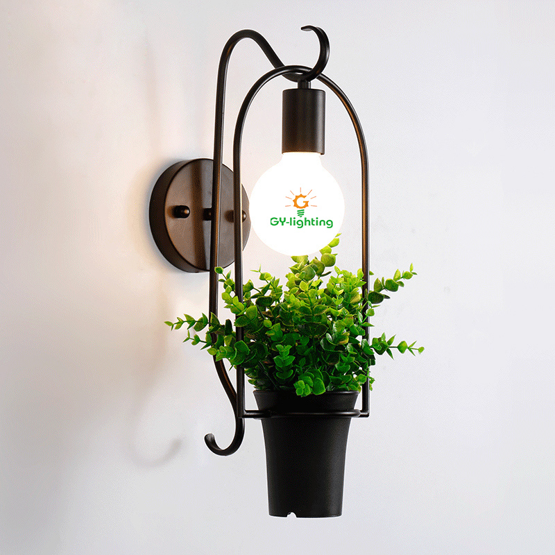 ФОТО Iron retro art  Green plant led wall lamp creative simple sconce led wall light coffee / shop /Bar plant maquiagemWall lights