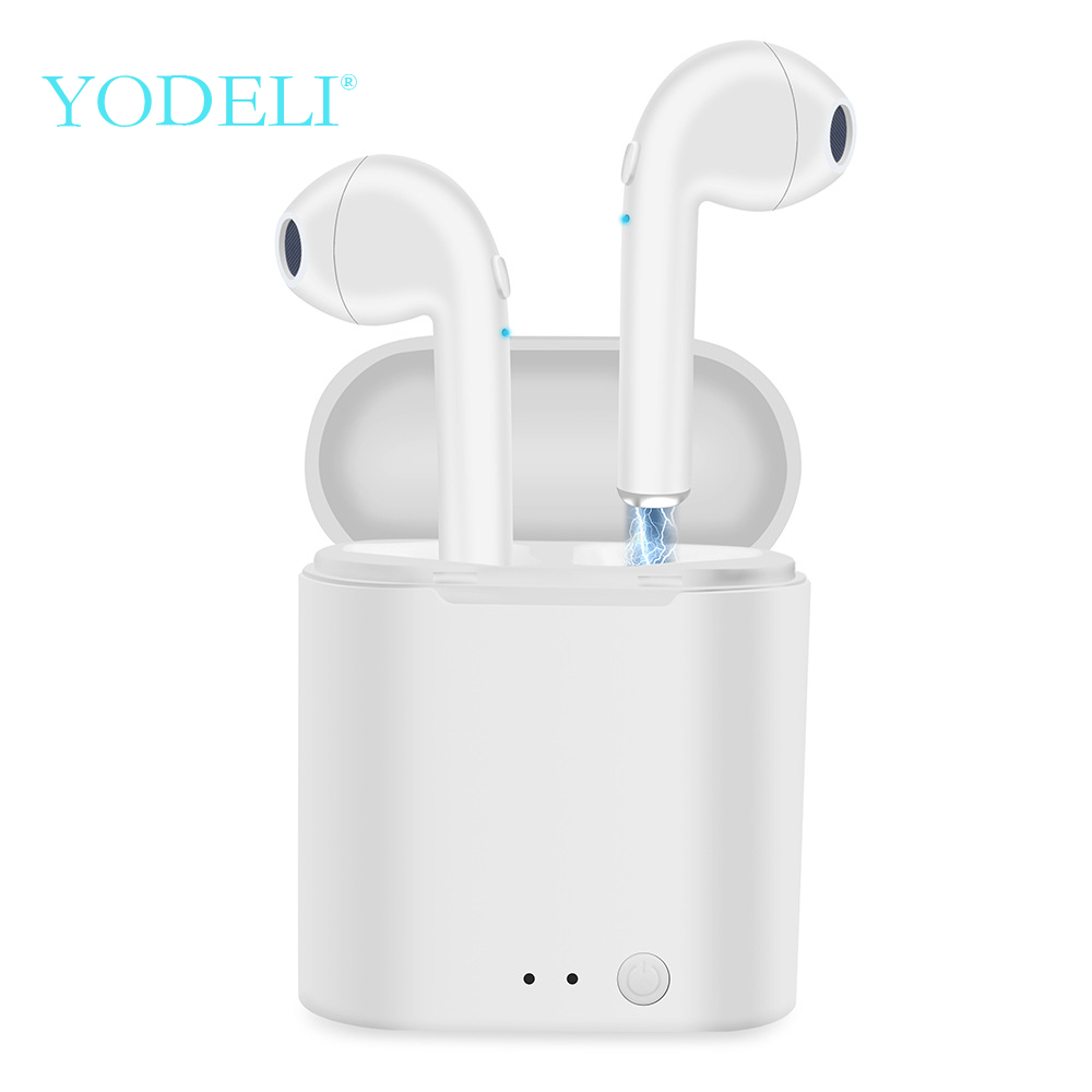 YODELI Wireless Headphone I7S TWS Twins Bluetooth Earphone Bass Earbuds Headset With Mic For iPhone 6 7 8 S Xiaomi Android Phone bicycle hub light bike wheel lamp led bicycle decoration light waterproof shockproof cycling lamp bike accessories safetywarning