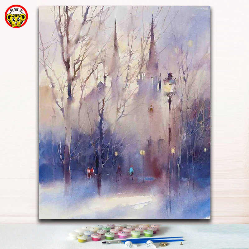 Diy Coloring paints by numbers Victorian street paintings picture by numbers artwork with kits for modern decoration diy frame