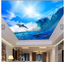 Custom 3d photo wallpaper 3d ceiling wallpaper murals waves of sea dolphins and blue sky white clouds frescoes 3d room wallpaper цены