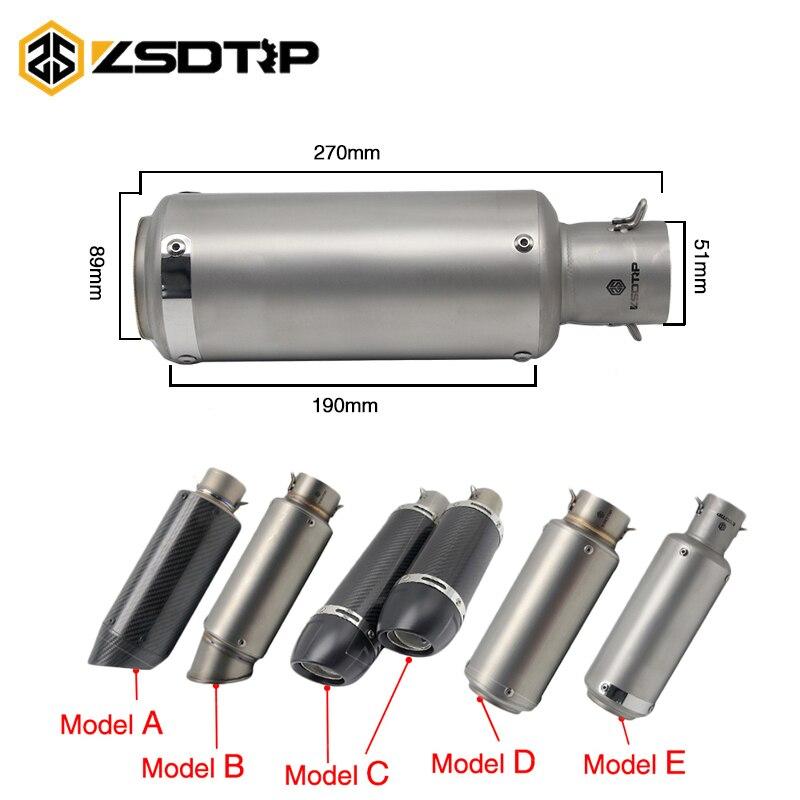 ZSDTRP 51 мм Мотоцикл выхлопная труба глушителя SC проекта Лазерная Настоящее углеродного волокна Выхлопной Трубы Стикеры без подвижный дБ убий...