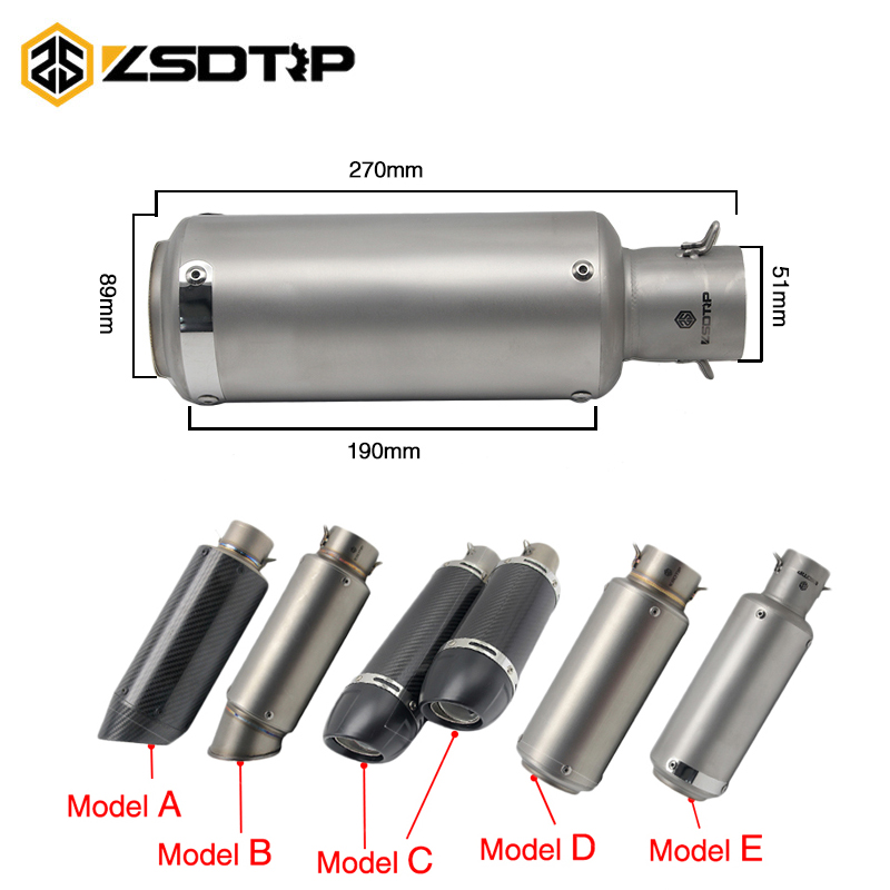 ZSDTRP 51mm Motorcycle Exhaust Pipe Muffler SC Project Laser Real Carbon Fiber Exhaust Pipe With Moveable DB Killer Sticker motoo 51mm real carbon fiber stainless steel motorcycle exhaust pipe motocross muffler with db killer