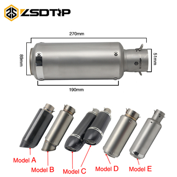 ZSDTRP 51mm Motorcycle Exhaust Pipe Muffler SC Real Carbon Fiber Exhaust Pipe Sticker Without Moveable DB Killer