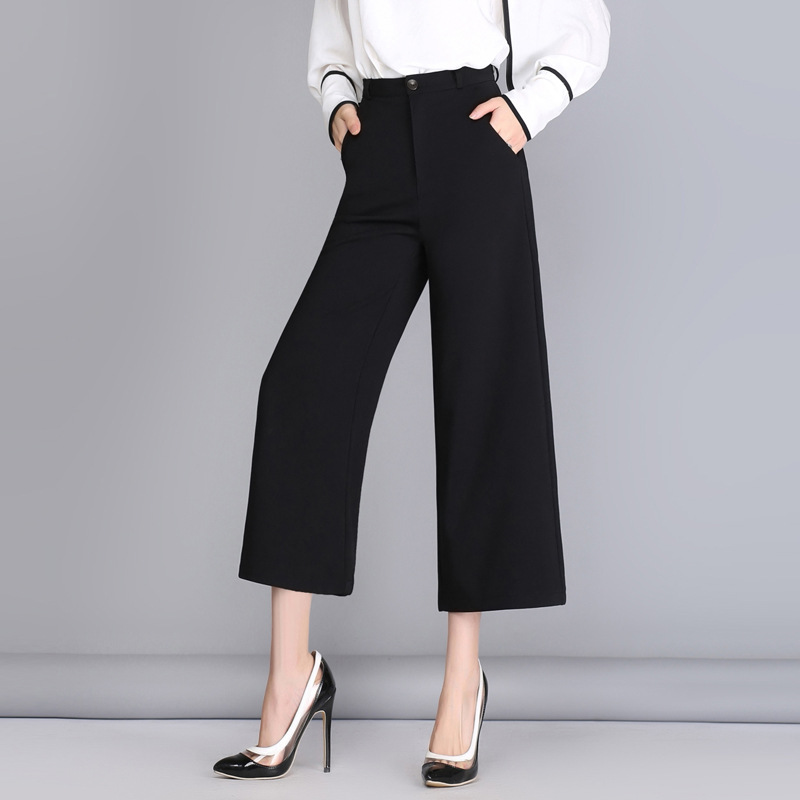 2017 Summer Style Women   Pants     Capris   Woman Solid Color Mid Flat Wide Leg   Pants   Office Uniform Ankle-Length   Pants   5 Size Fashion