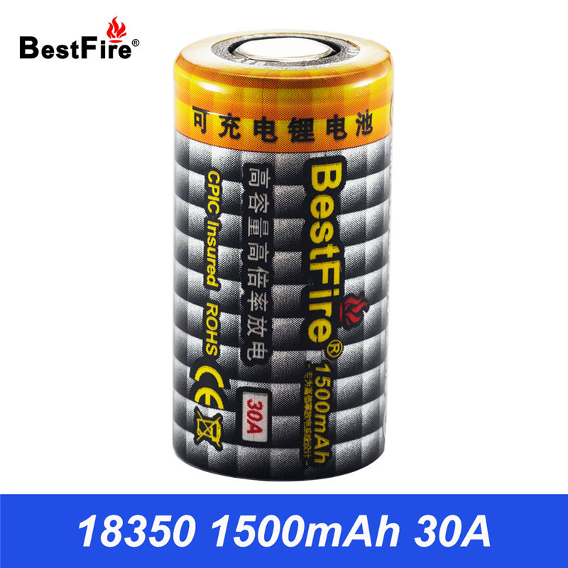 Bestfire 1500mAh 18350 Battery 3.7V Li-ion Rechargeable Battery 30A for Electronic Cigarette 18350 Vape Mech Mod E Pipe B012