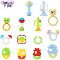 Beiens Marca Juguetes 9 unids Bonito Plástico Juguetes Para Bebés Recién Nacidos Mano Shake Anillo de Bell Sonajeros de Bebé Juguetes Educativos