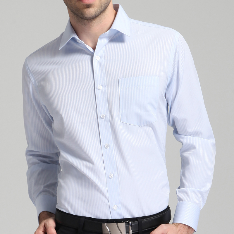 Men's Classic Regular-fit Plain/Striped/Twill Basic Dress Shirts With Pocket Formal Business Long Sleeve Work Office Tops Shirt