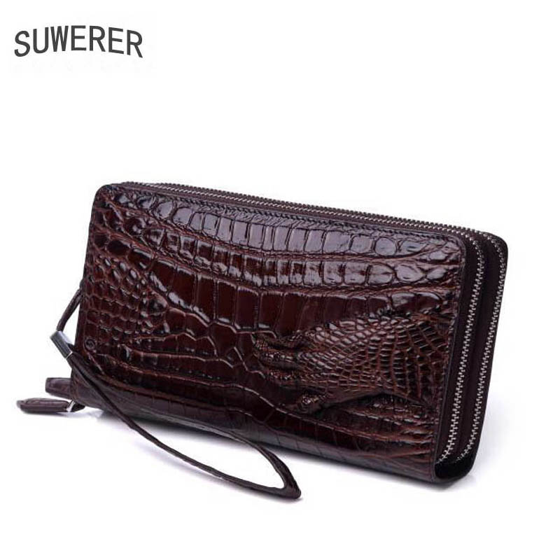 SUWERER 2019 New men genuine leather bags famous brands Crocodile pattern fashion top cowhide clutch bag men leather walletSUWERER 2019 New men genuine leather bags famous brands Crocodile pattern fashion top cowhide clutch bag men leather wallet