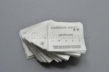 Custom cotton printed care label, natural white color, cotton tape