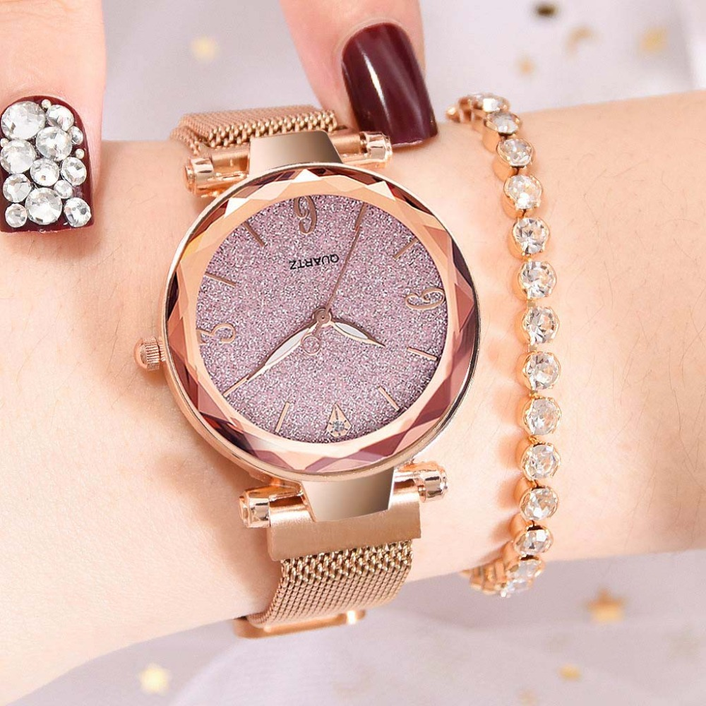 Creative Starry Sky Watches Women Shiny Geometry Surface Clock Magnetic Wrist Watch Fashion Trendy Relogio Feminino Rose Gold