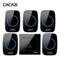 CACAZI Домашний Беспроводной дверной звонок Водонепроницаемый умный светодиодный звонок Кнопка батареи 300 м Удаленный передатчик ЕС вилка 36 ...