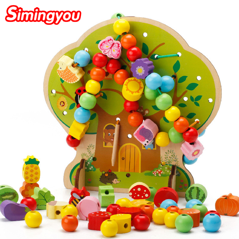 Simingyou Puzzle Montessori Educational Wooden Toys Tree Bead Wooden Toys For Children Drop Shipping DX52 4pcs kids animals 3d puzzle wooden educational toys games for children giftslearning