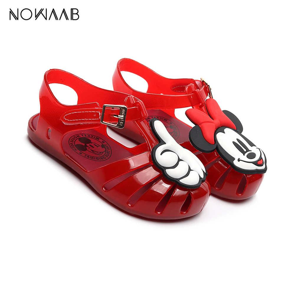 Mini Melissa Sevimli Mickey Thumb Kız Jöle Sandalet 2019 Yeni Yaz kızlar için yarı saydam plastik ayakkabılar kaymaz Sandalet Melissa Çocuklar Plaj Sandal