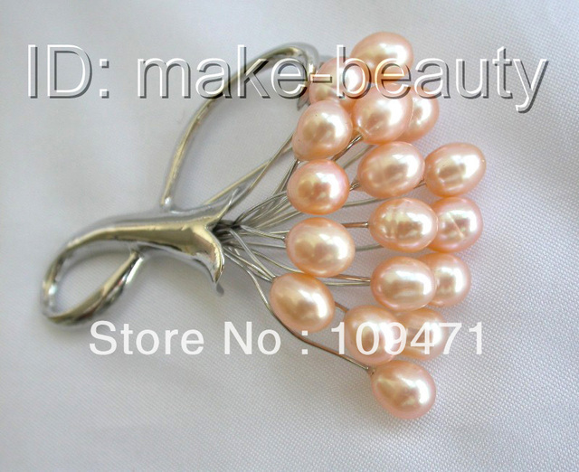 stunning pink freshwater cultured pearl brooch pin
