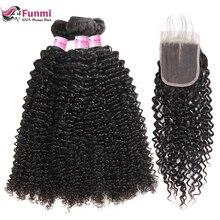 Funmi перуанские вьющиеся волосы с закрытием 4X4 дюймовые натуральные волосы пучки с закрытием 3 пучка с закрытием человеческих волос