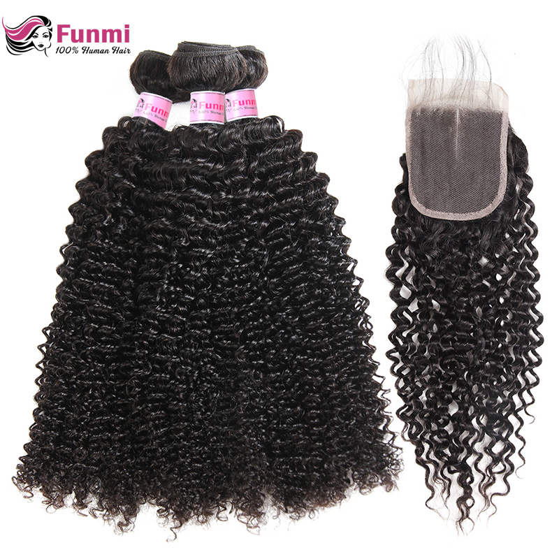 Funmi Peruvian Kinky Curly Hair With Closure 4X4 Inch Virgin Hair Bundles With Closure 3 Bundles With Closure 100% Human Hair