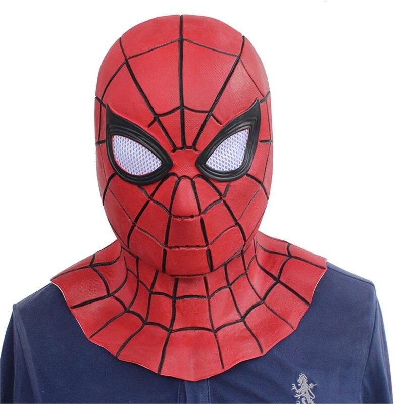 アベンジャーズスパイダーマン大人ラテックスマスクスパイダーマンレッド黒コスプレマスクフルフェイスヘルメットハロウィン