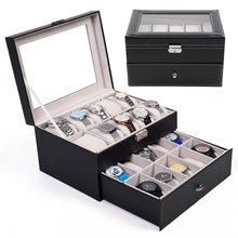 Двойной слой 20 сетки коробки для часов Ювелирные изделия Органайзер часы дисплей коробка для хранения Чехол из искусственной кожи квадратный чехол для ювелирных изделий