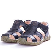 AFDSWG 100% leather girls shoes summer white girl sandals black little boys yellow child