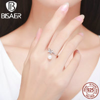 100 925 Sterling Silver Cute Bow Knot Clearly CZ Finger Rings For Women Fashion Authentic Original
