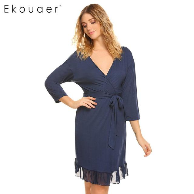 5785dd9cca Ekouaer Women Nightwear Kimono Robe Sexy Lingerie Solid V-neck 3 4 Sleeve  Mesh Patchwork Spa Bathrobe Sleepwear Robes Femme