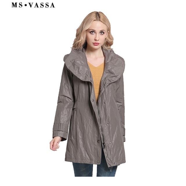 MS VASSA Phụ Nữ áo khoác 2019 Thời Trang Mới Trench áo khoác khăn choàng cổ áo phụ nữ Mùa Xuân Mùa Thu cổ điển phong cách cộng với kích thước 6XL 7XL quần áo thể thao