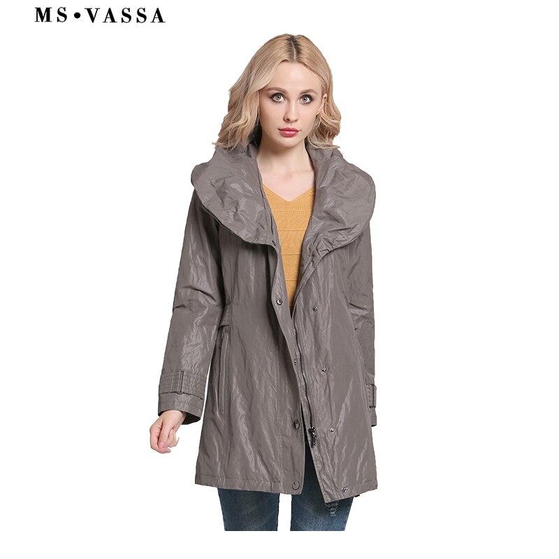 MS VASSA Women coats 2017 New Fashion   Trench   coats shawl collar Autumn ladies Spring classic style plus size 6XL 7XL outerwear