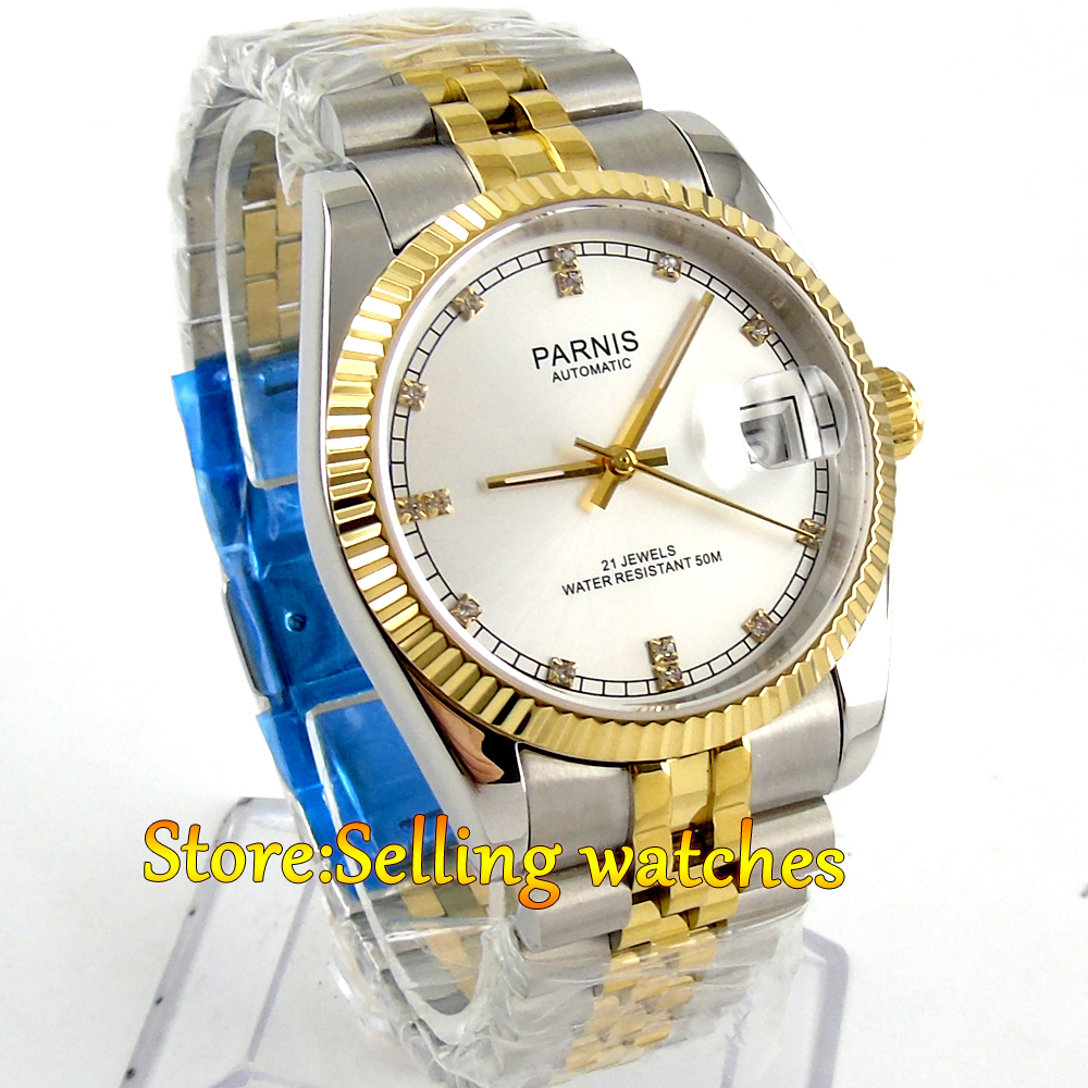 Parnis 36mm unisex gold marks date sapphire glass MIYOTA Automatic men's watch