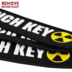 Image 4 - 오토바이 및 자동차 선물에 대 한 새로운 패션 핵 발사 키 체인 태그 자 수 키 Fobs 홀더 OEM 키 체인 Keyring Bijoux