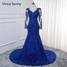 Vestido de festa Sexy Lange Abendkleid 2020 langarm Pailletten Meerjungfrau Kleid royal blue Formale Abendkleid Robe de soiree