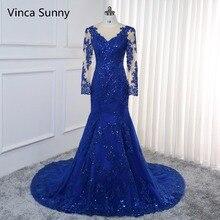 Vestido de festa Sexy longue Robe de soirée 2020 à manches longues Sequin Robe de sirène bleu royal formelle Robe de bal Robe de soirée