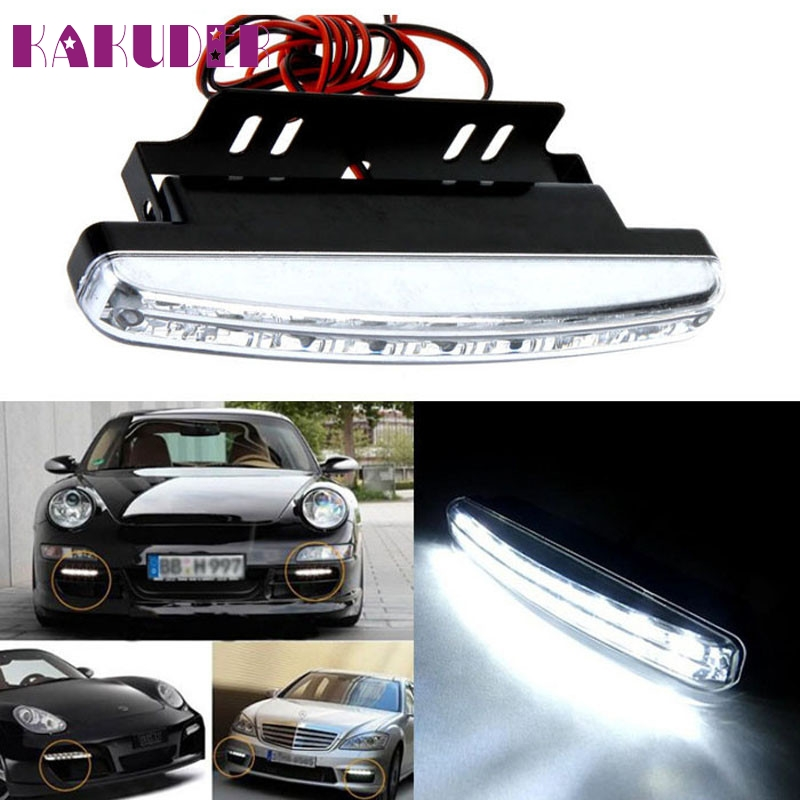 Hot New 8LED Daytime Driving Running Light DRL Car Fog Lamp Waterproof White DC 12V fashion hot march2 1 pair metal shell eagle eye hawkeye 6 led car white drl daytime running light driving fog daylight day safety lamp waterproof