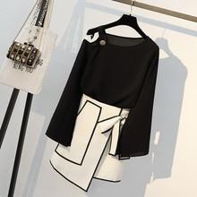 Осенняя Женская длинная футболка с открытыми плечами и элегантная юбка с асимметричным подолом, костюмы, модные женские офисные комплекты размера плюс