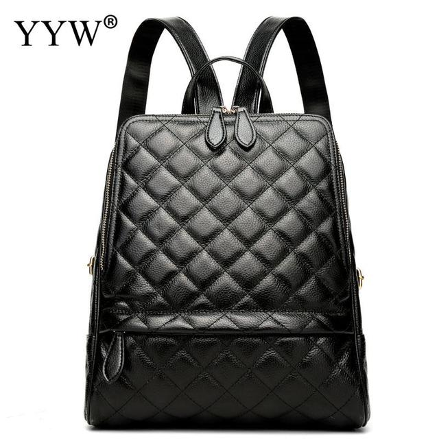 f70653ff44f60 Fashion Black PU Leather Backpack Female Orange Plaid Backpacks for  Adolescent Girls Women Red Spliced Casual