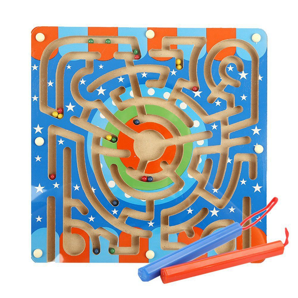 Wooden Magnetic bead ball pen Maze Puzzle Magnetic Board ring track Game Educational Toys for Toddlers Kid