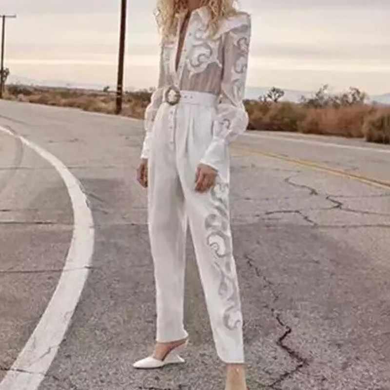 TWOTWINSTYLE женский комбинезон с вышивкой в стиле пэчворк, с отворотом, с длинным рукавом, с поясом, штаны, Женская Повседневная мода, весна 2019, новинка