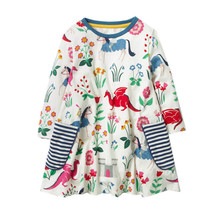 New arrive Jumping meters Princess dresses girls clothing long sleeve printed knitted children clothes fashion baby girl dress