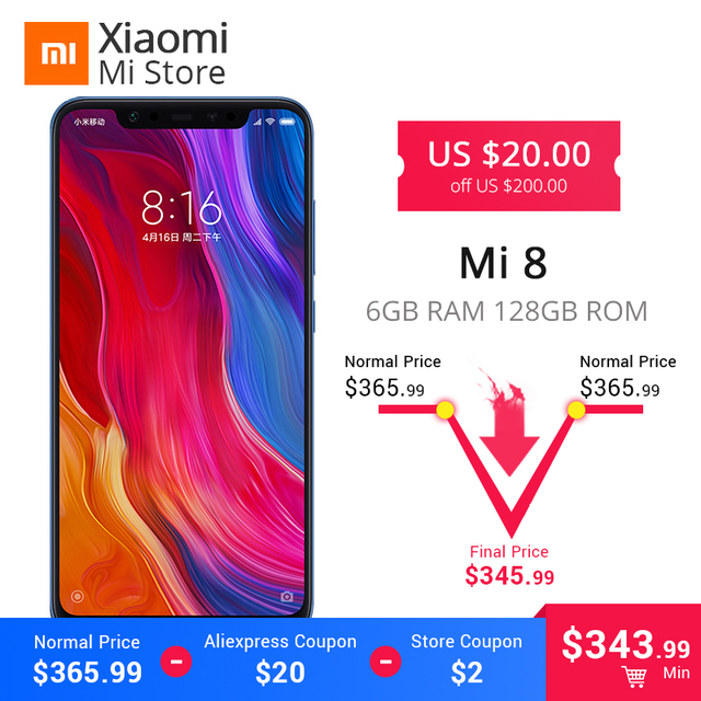"Global ROM Xiaomi Mi8 6GB 128GB Mi 8 Snapdragon 845 Octa Core CPU 6.21"" 18.7:9 Full Screen 20MP Front Camera NFC Mobile Phone"