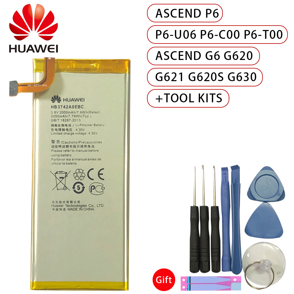 Original Battery for Huawei P6 For G6 HB3742A0EBC 2050mAh Ascend