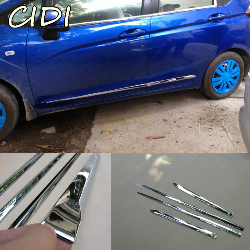 ABS chrome Car Side Door Body trim stick Strip Molding 4pcs For Honda Fit Jazz 2014 2015 2016 2017 2018 Car Accessories stainless steel door side body garnish molding cover trim for toyota rav4 2014 2017 exterior decor strip car styling accessories