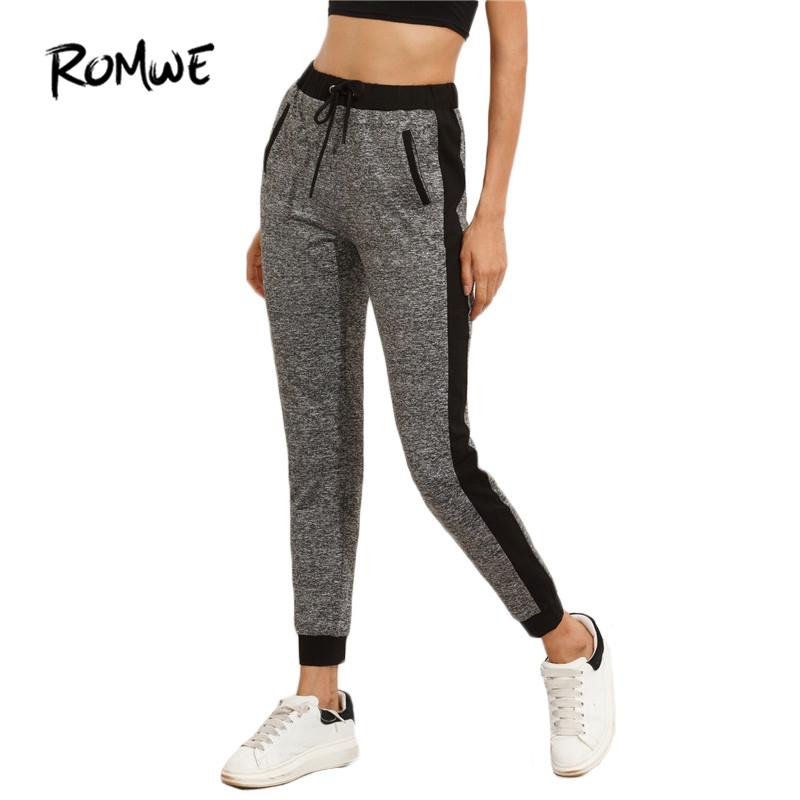 ROMWE Women Pants Winter Mid Waisted Fashion Warm Color Block Drawstring Waist Trousers Grey Pocket Tie Waist Pants