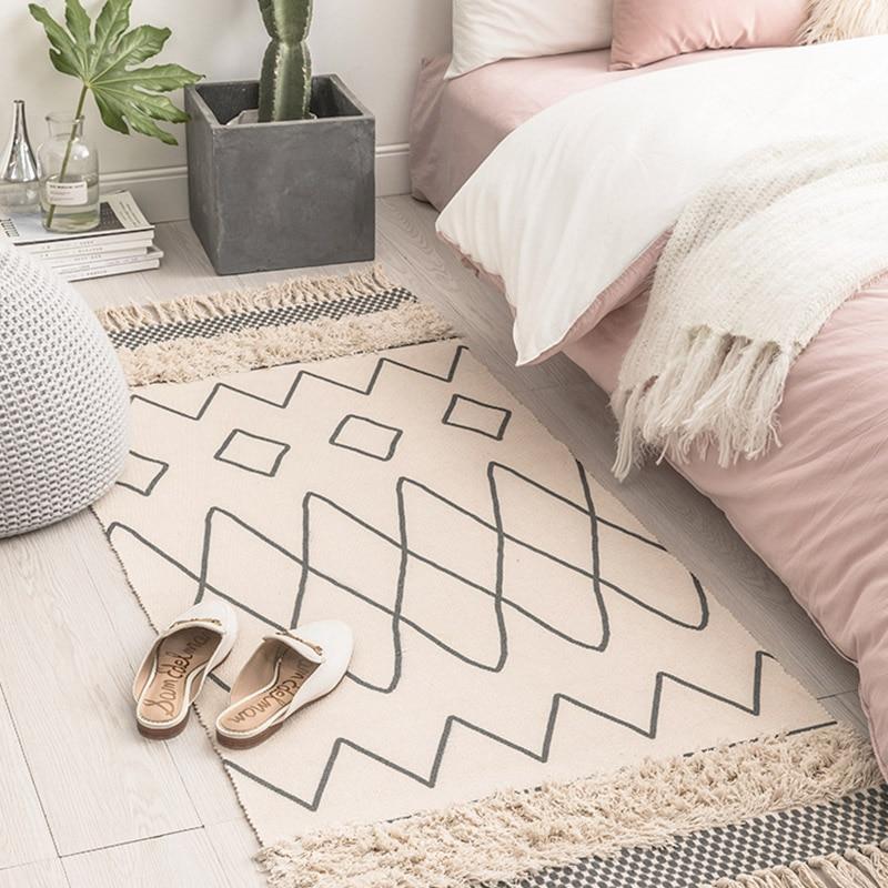 Tapis marocain tufté en coton tissé à la main glands confortables imprimé tapis de sol intérieur pour chambre à coucher, salon avec antidérapant - 4