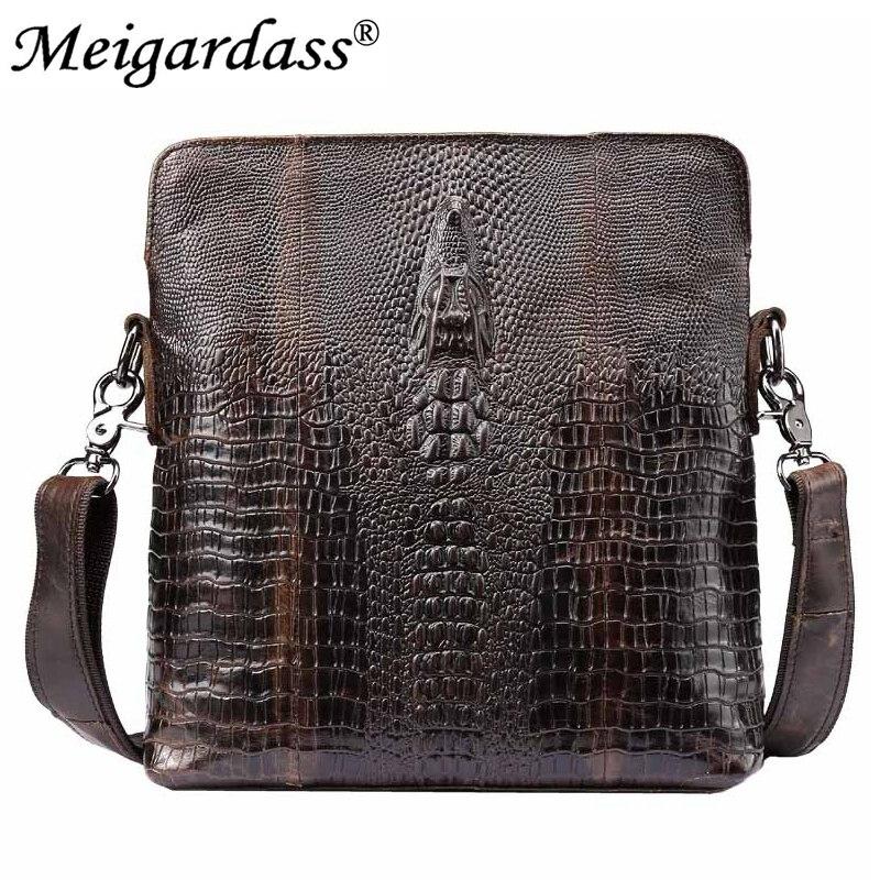 Krokodilmönster Äkta Läder Små Messenger väskor för män Casual - Handväskor