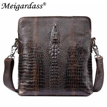 Patrón de cocodrilo de cuero genuino pequeñas bolsas de mensajero para hombres Casual viajes Crossbody bolso de hombre bolsos de cuero bolsas